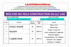 Assignment Overseas – Requirement for JKS Hills construction Co. in UAE