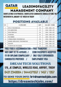 Dream Tech Solution – Urgent requirement for Qatar 150+ Vacant