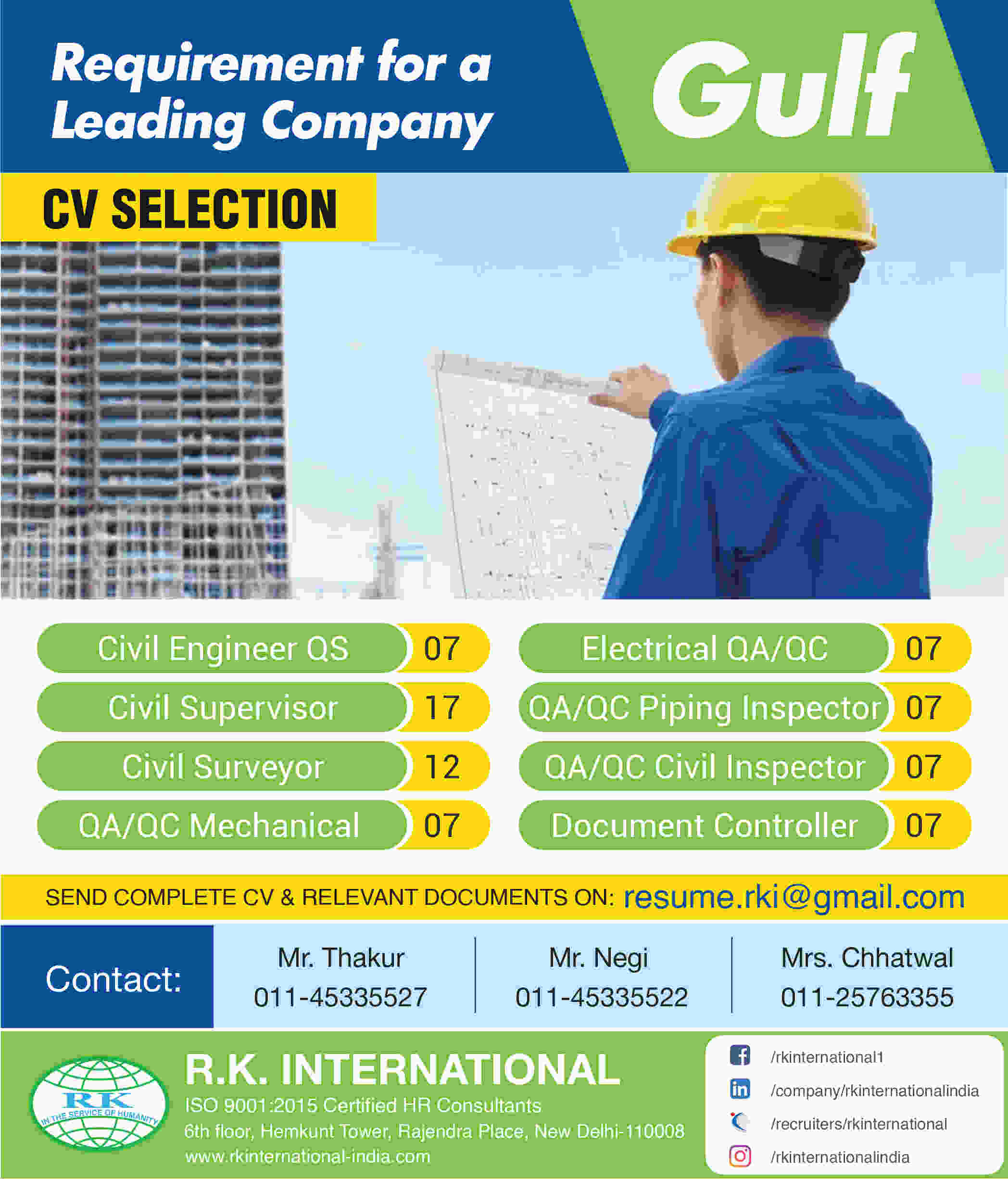 Gulf Overseas jobs | Requirement for a leading Company – Cv Selection