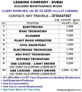 Gulf job paper Dubai | ITI/Diploma job vacancies – Salary 45000/- INR