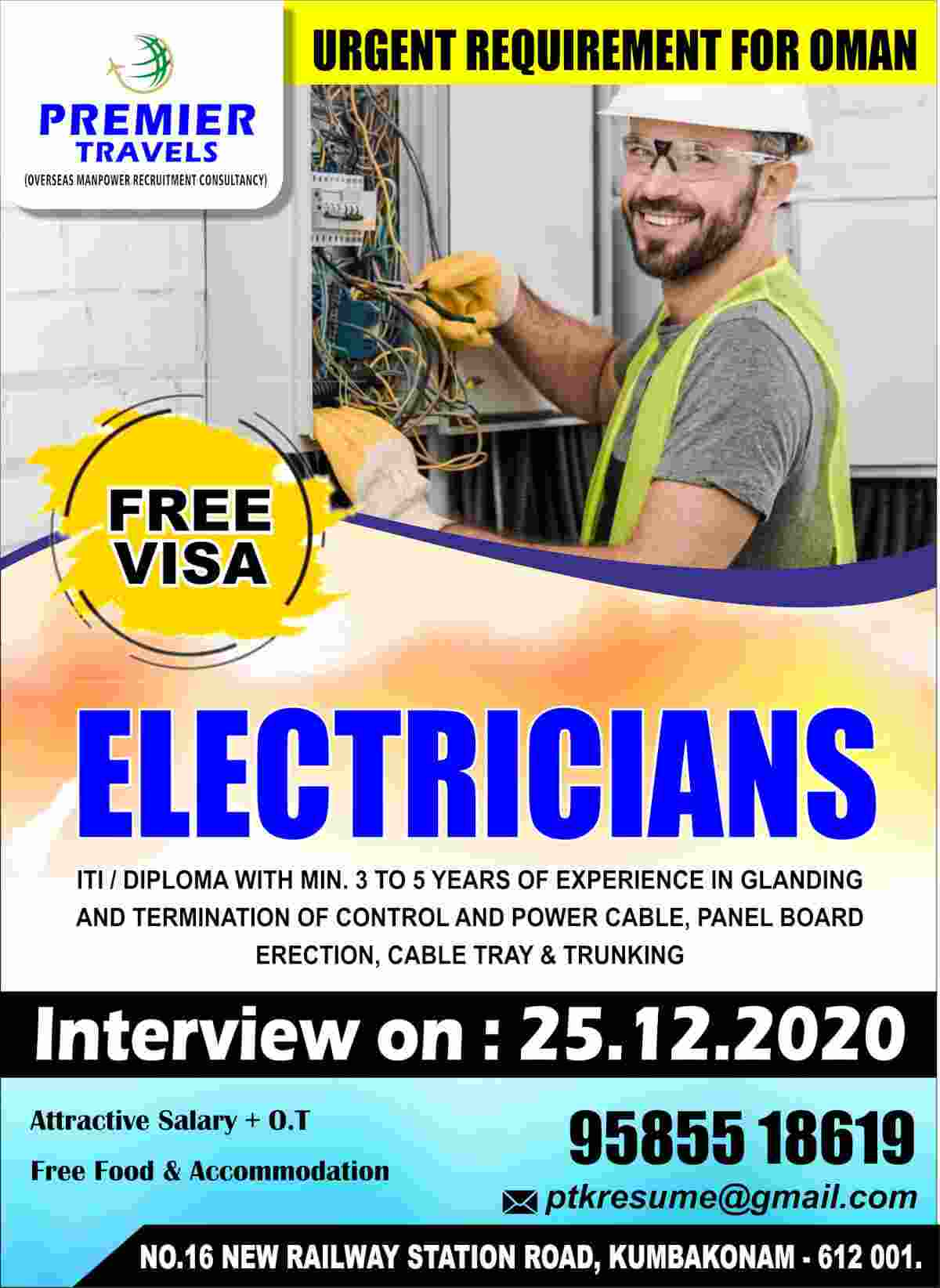 Premier Travel Consultancy | Urgent requirement of Electricians in Oman