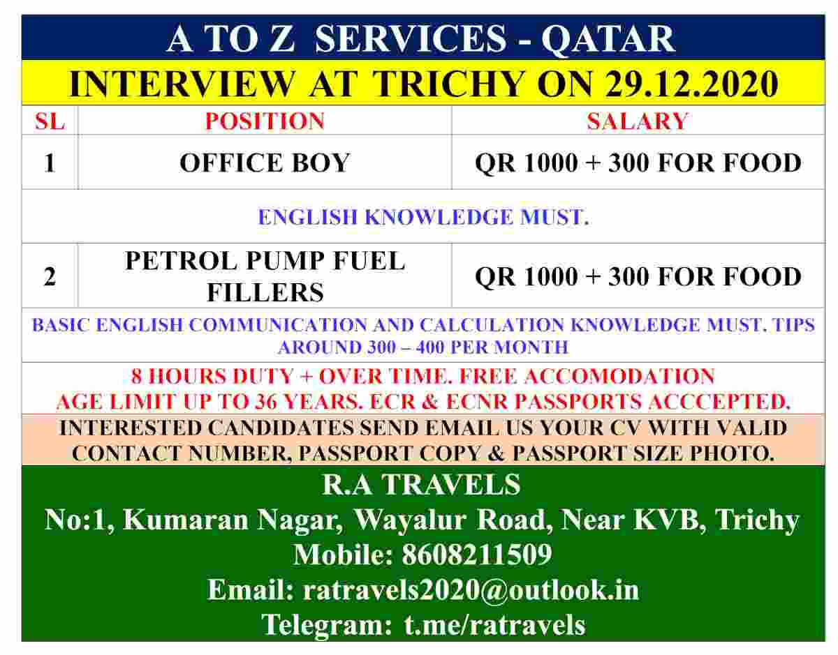 Job interview for Qatar – Requirement of Office boy & Fuel filler for Qatar