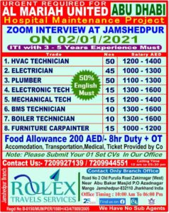 Rolex travels Jamshedpur | Jobs for Al Mariah United Abu-Dhabi, Nos-200+