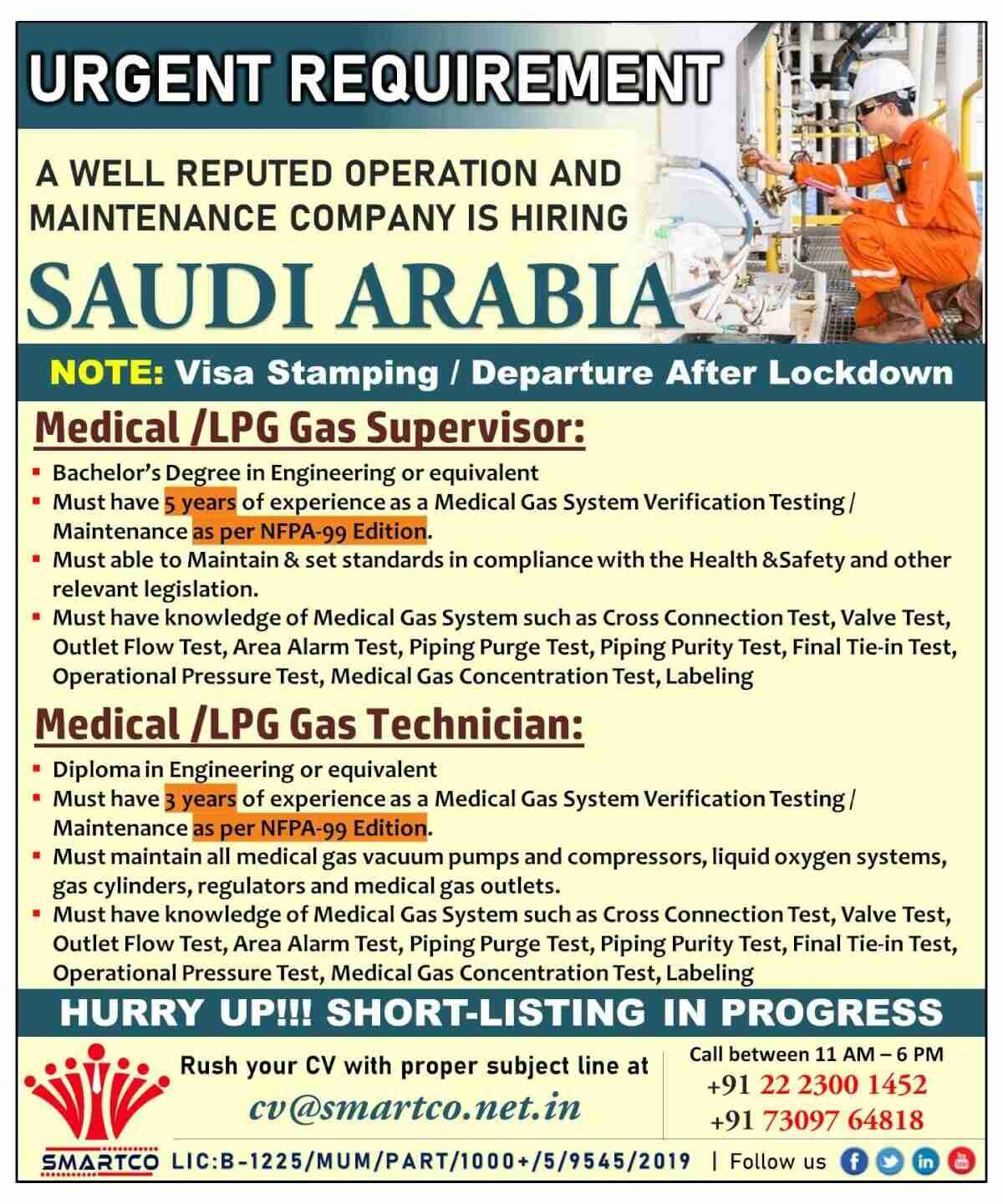 Saudi employment news – Urgent requirement for maintenance company