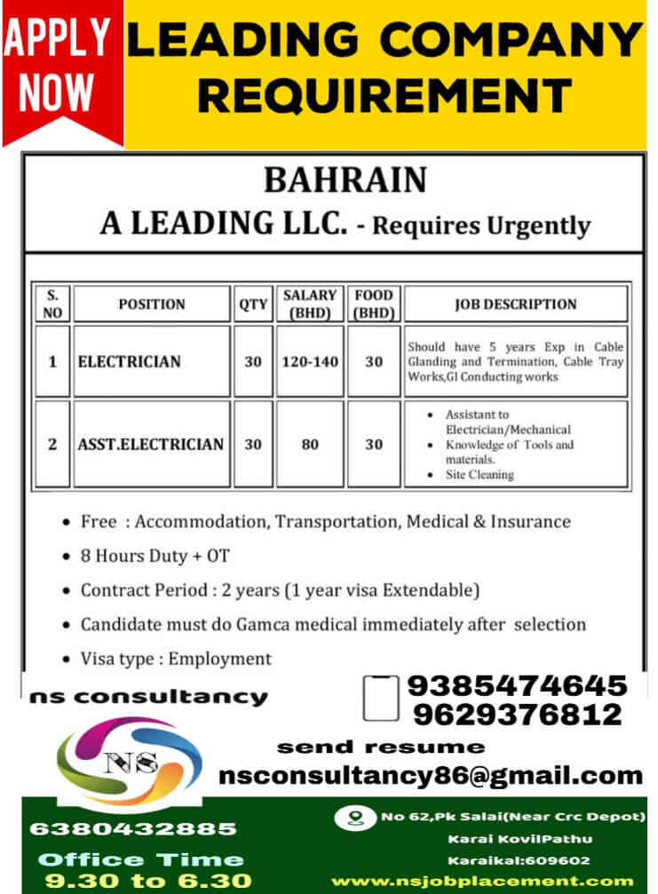 Urgent requirement for Bahrain – A leading LLC Company