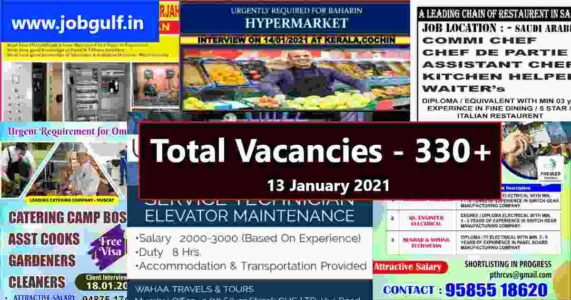 Abroad times newspaper 13-01-2021 | Total vacancies – 330+