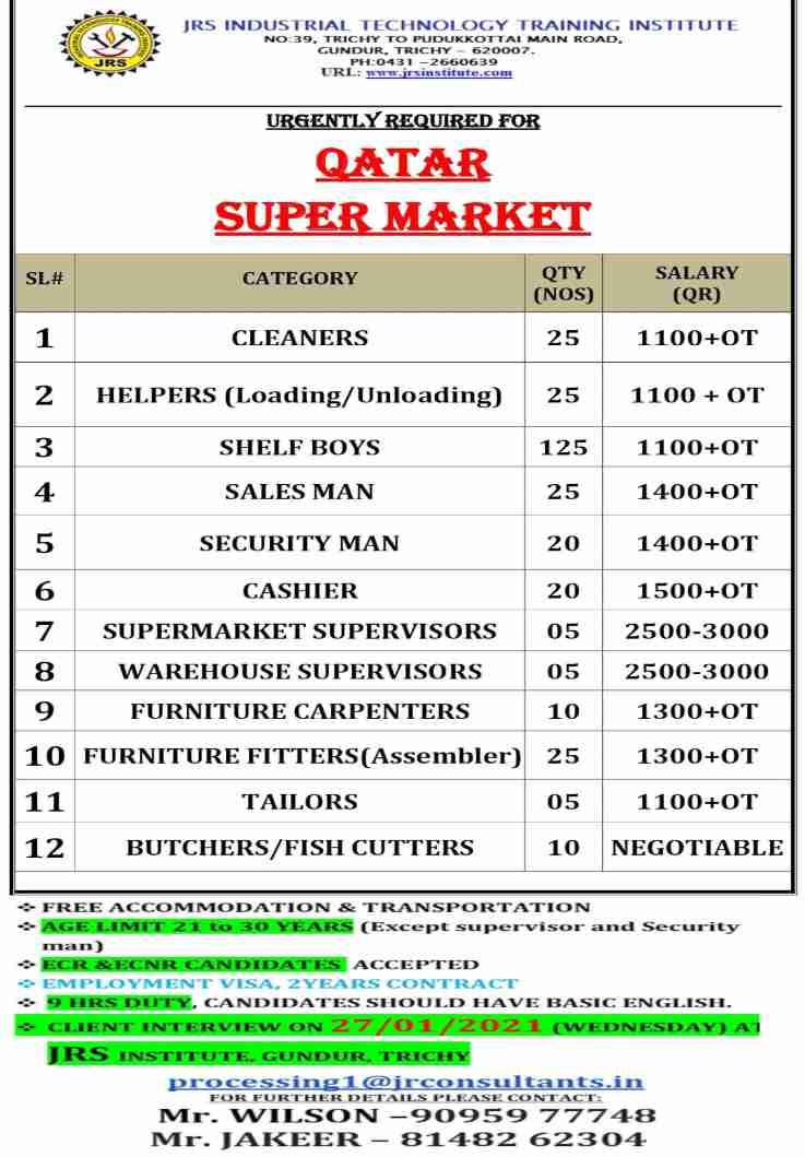 Assignment Overseas jobs – 300+ job vacancies for Supermarket in Qatar