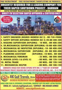 Free requirement Bahrain – BAPCO refinery maintenance project