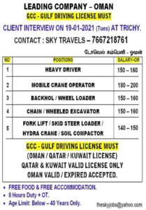 Gulf Job vacancies for Oman Heavy Driver and Operators