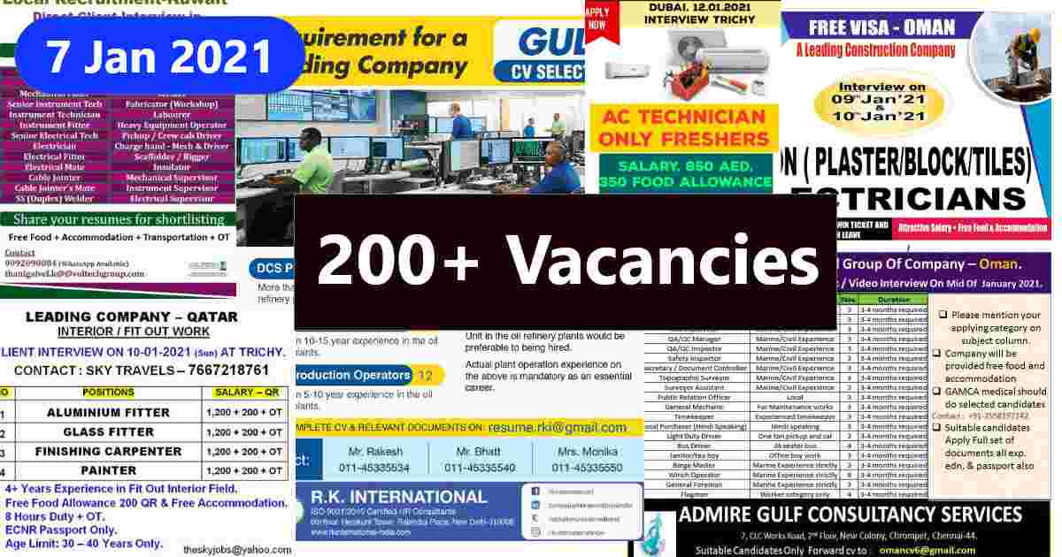 Gulf Jobs – Assignment abroad times Today
