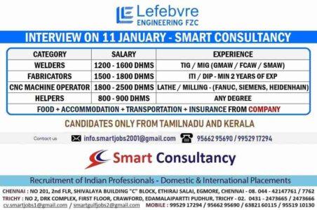 Gulfwalkin Chennai – Recruitment for Lefebvre Engineering FZC Dubai