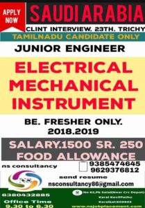 Gulf Jobs Junior Engineer – Vacancies for Saudi – Elec/Mech/Instrument
