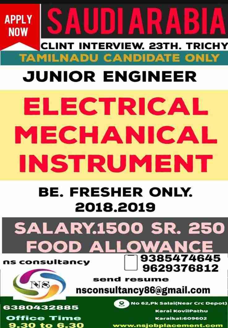 Gulf Jobs Junior Engineer – Vacancies for Saudi – Elec/Mech/Instrument