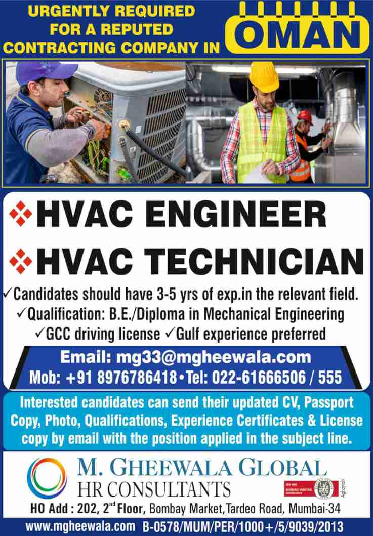 Gulf Jobs Mumbai – Urgently required for a contracting co. in Oman