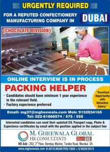 Gulf Jobs Packing helper – Chocolate manufacturing company in Dubai