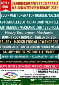 Gulf Jobs for Saudi Arabia | Light driver/Automobile technician/Heavy Driver
