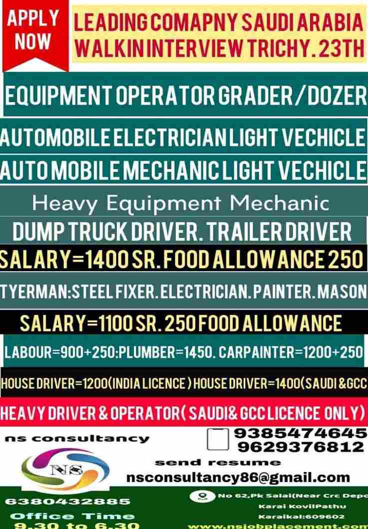 Gulf Jobs for Saudi Arabia | Light driver/Automobile technician/Heavy Driver