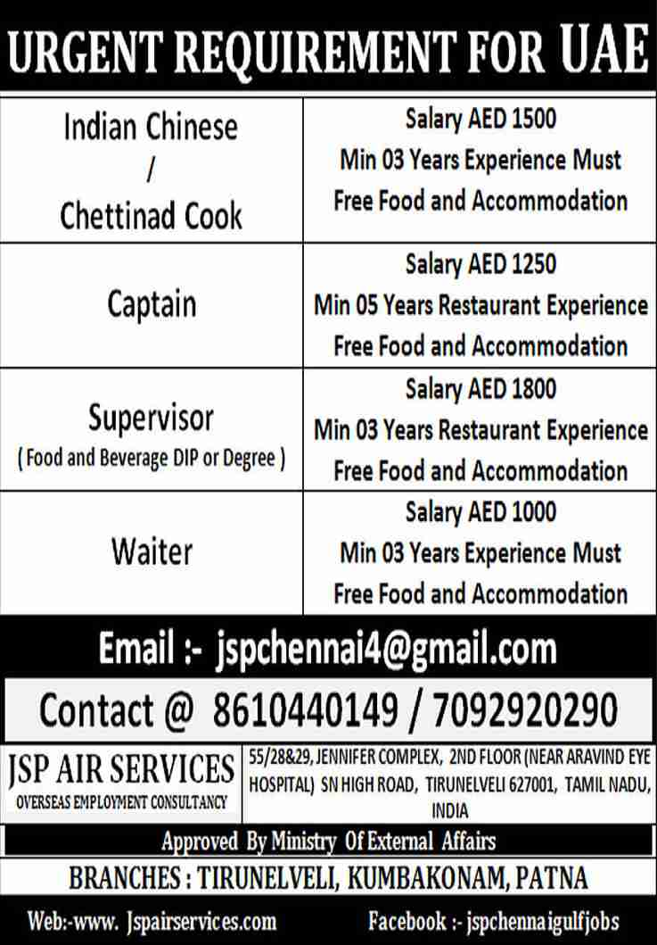 Gulf Restaurant Jobs – Requirement for a leading Restaurant in the UAE