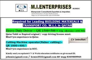 Gulf job Mumbai | Urgently required for Qatar – Salary 50K INR