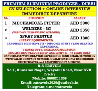 Gulf job interview in Trichy – Urgent Requirement for Dubai
