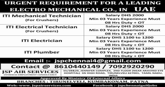 Gulf job vacancy | ITI candidates required in UAE for Electro-mechanical Co