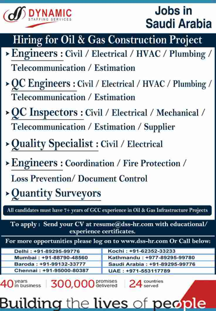 Gulf job vacancy – Recruitment for Oil & Gas Construction project in Saudi