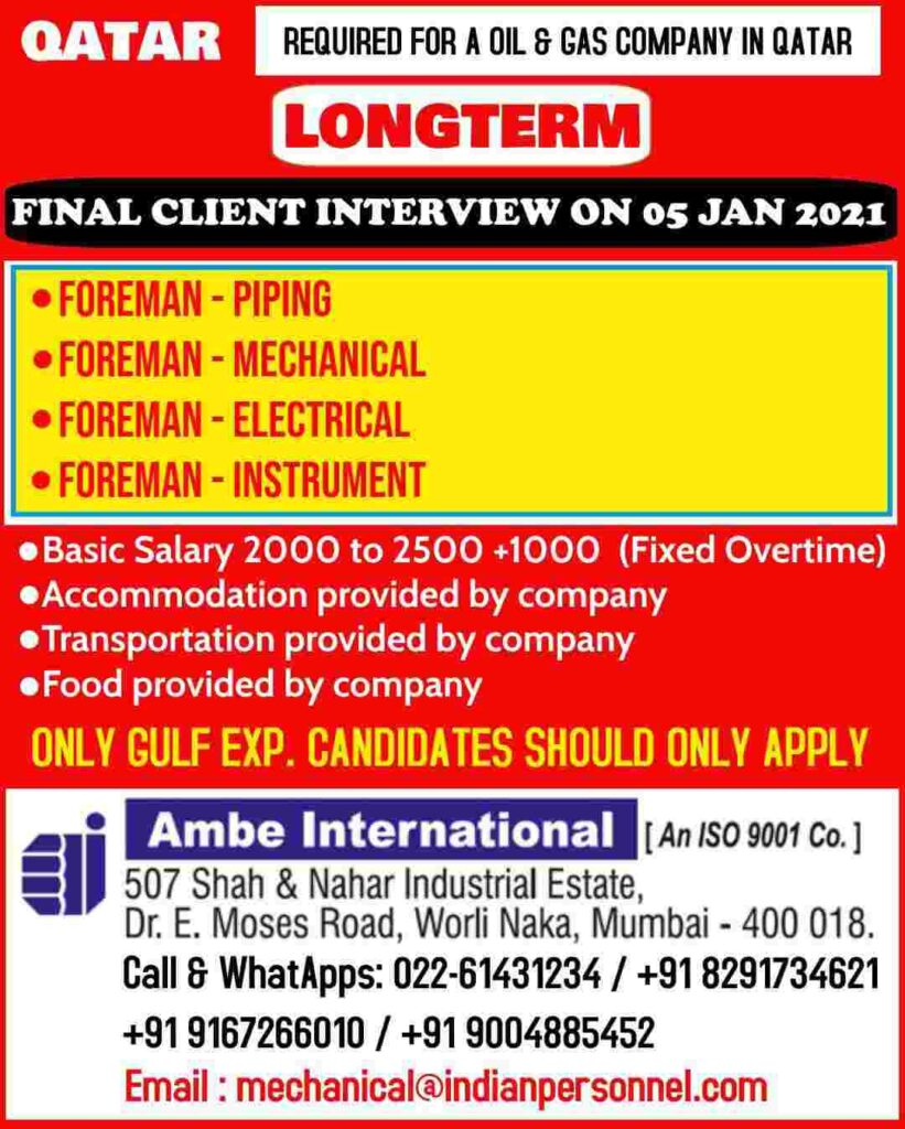 Gulf job Interviews across India