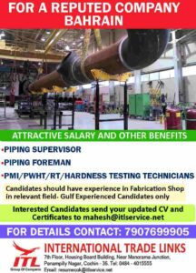 Gulf jobs Bahrain recruitment – Piping supervisor/foreman, Hardness tech