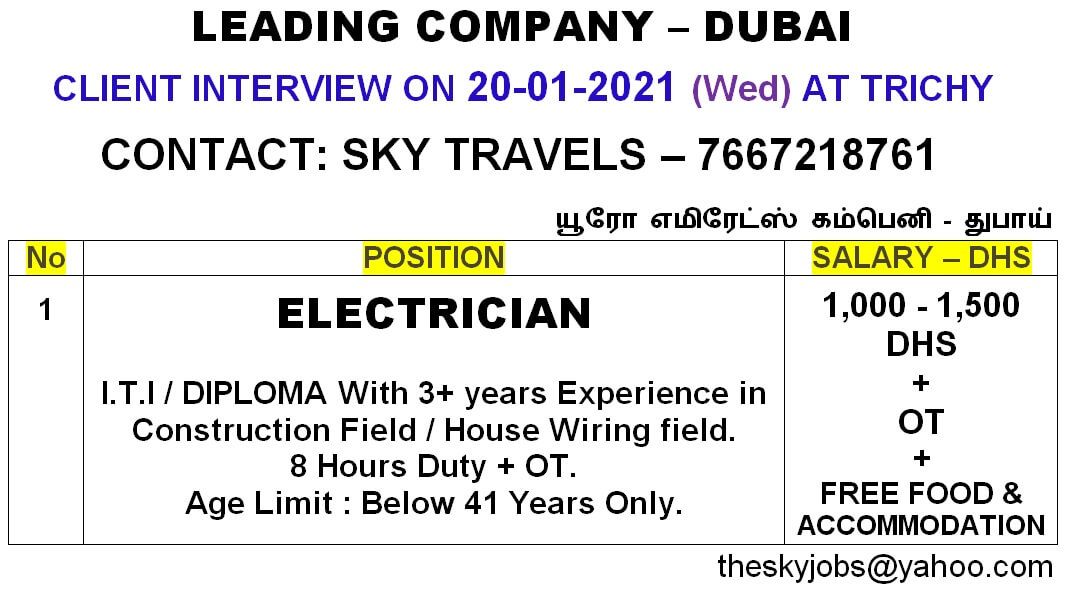 Gulf jobs Electrician – Urgent required for a leading Company in Dubai