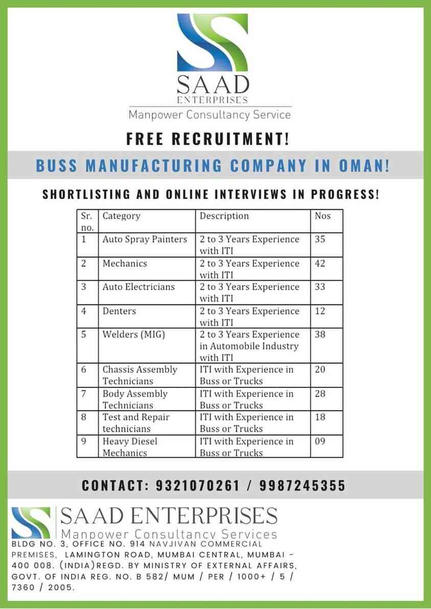 Gulf jobs Mumbai | Requirement for Bus Manufacturing Co. Oman
