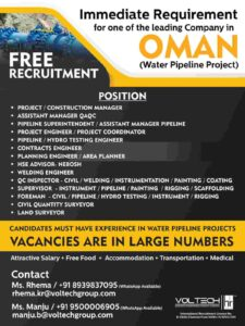 Gulf jobs Pipeline project Oman – Free Recruitment, Large vacancies