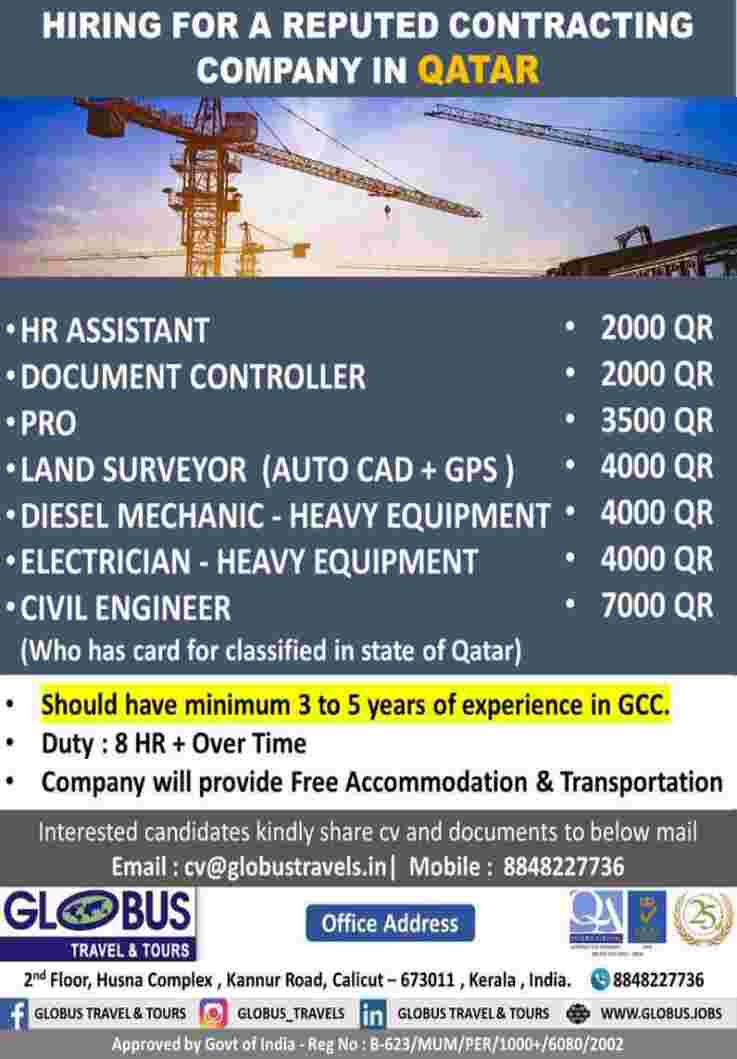 Gulf jobs for Qatar – Hiring for a reputed contracting company in Qatar