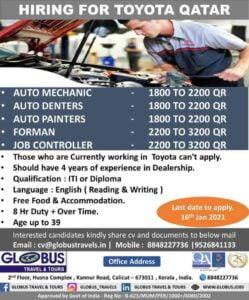 Gulf jobs for Qatar – Hiring for Toyota Company in Qatar