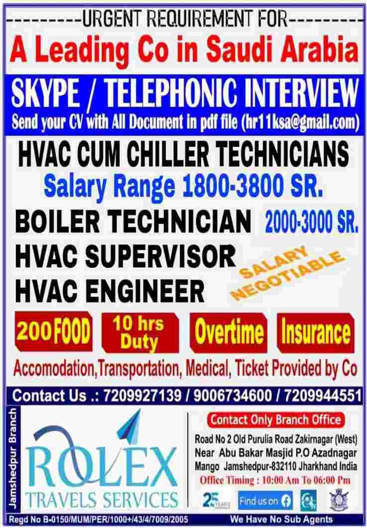 Job requirement in Saudi – Hiring for a Leading Company in Saudi Arabia