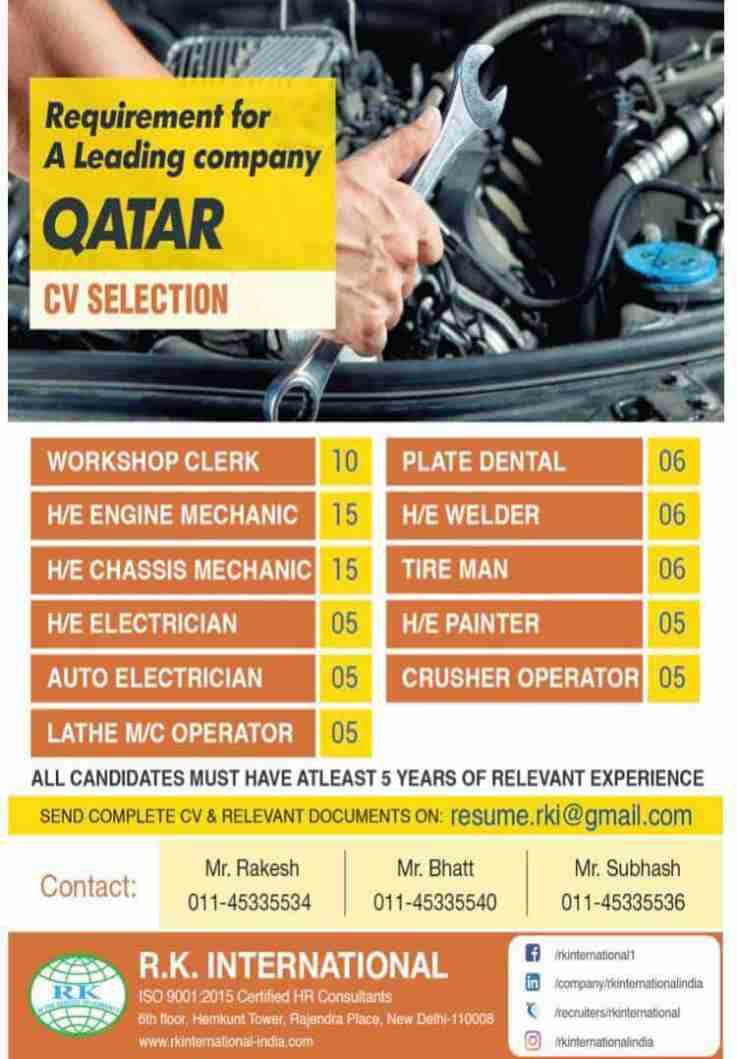 Jobs at Gulf – Urgent requirement for a leading company in Qatar