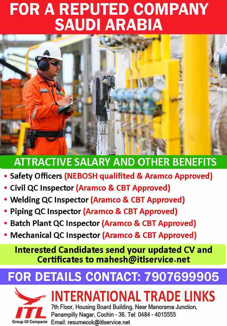 Jobs for Saudi Arabia – Safety, Civil, Welding, Mech, & Piping Officer