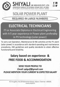 Jobs in Oman Solar power plant project – ITI/Diploma in Engineering