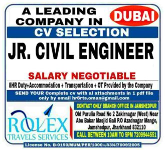 Jr Civil Engineer Dubai – Urgently required for a leading Co.