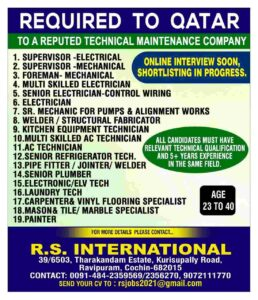 Overseas assignments | Jobs in Qatar for a technical maintenance Co.