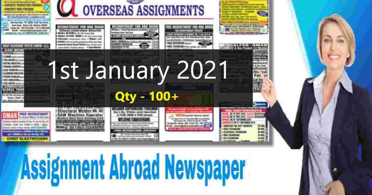 Overseas assignments India   1st January 2021   Qty – 100+