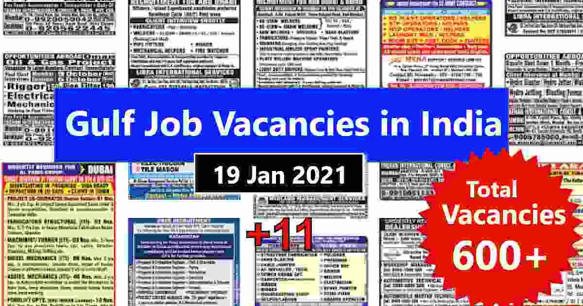 Overseas employment news India – 600+ Gulf job vacancies