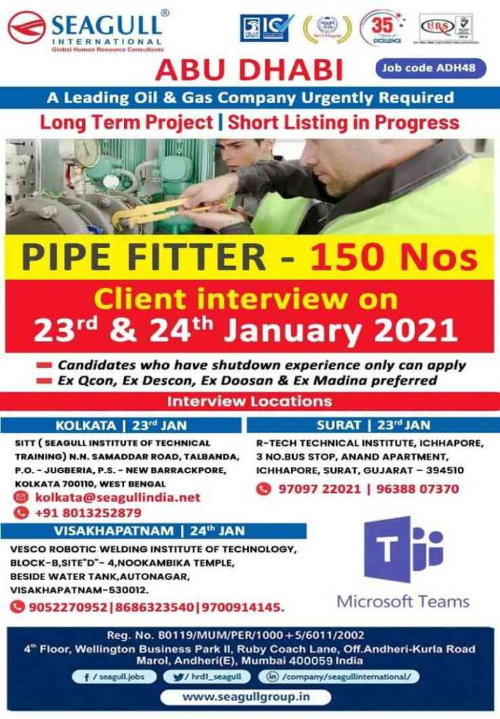Pipe Fitter jobs Abu-Dhabi