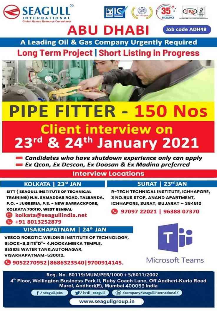 Pipe Fitter jobs Abu-Dhabi | Interview at Kolkata, Surat, and Visakhapatnam