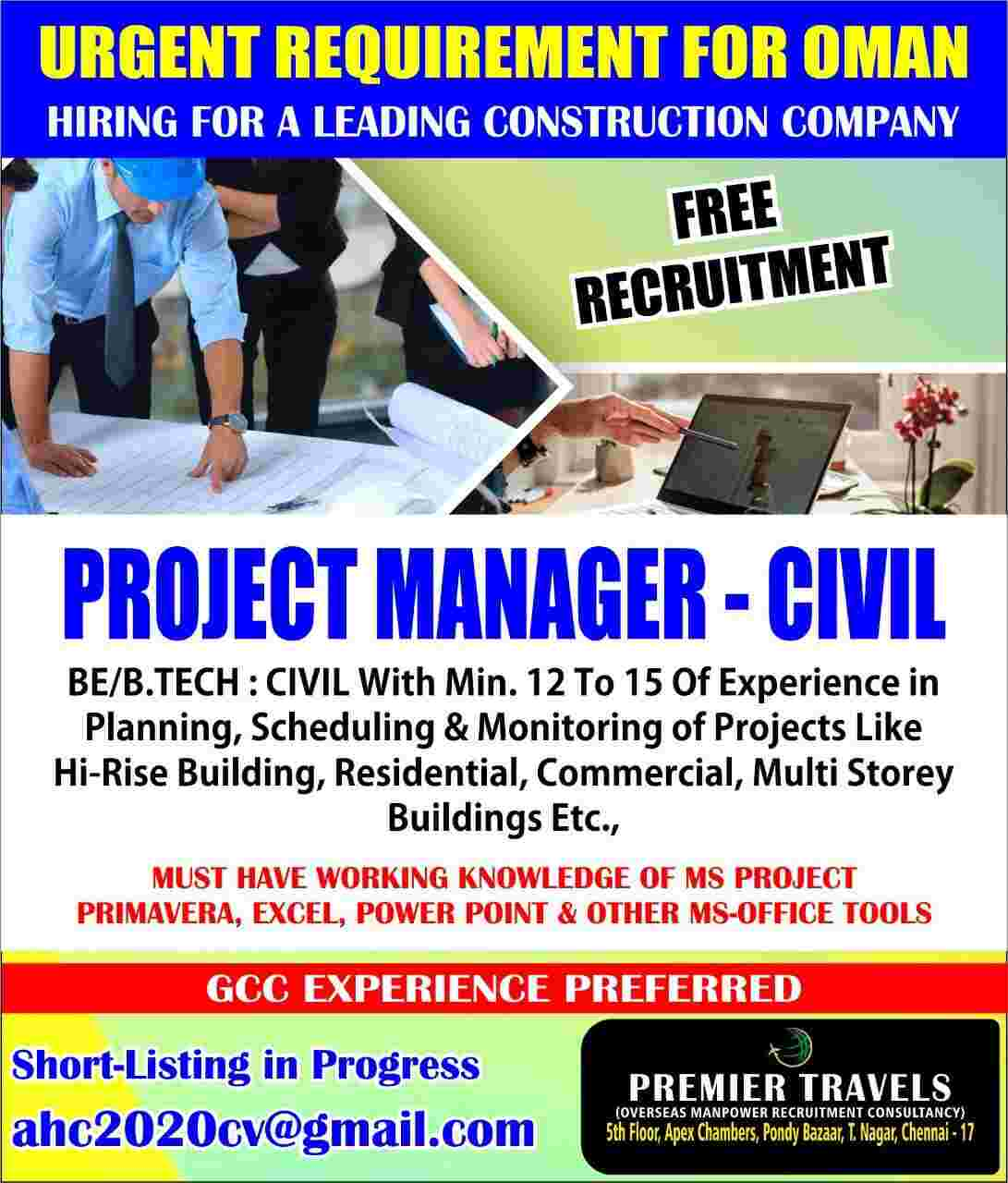 Project Manager Civil | Hiring for a leading Construction Co. Oman