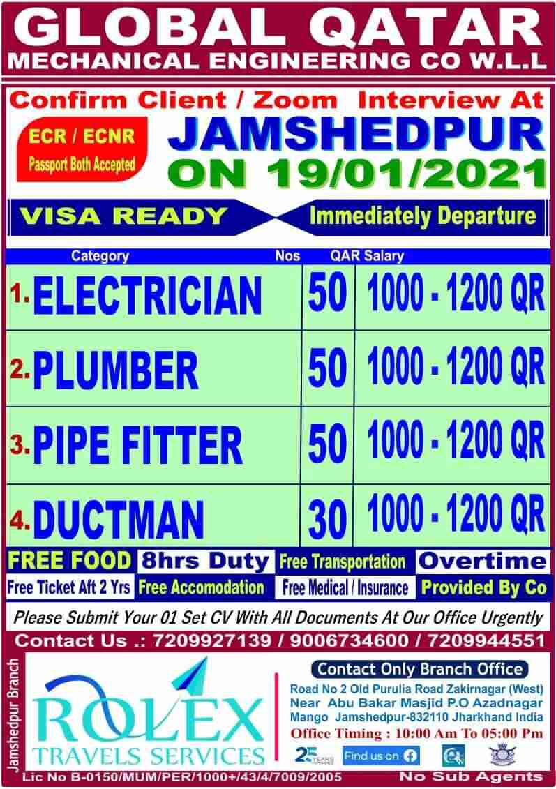 Qatar jobs India – Global mechanical engineering Co. Interview at Jharkhand