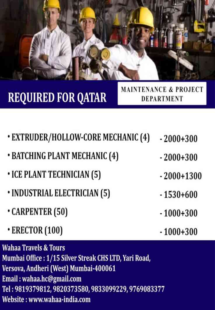 Required for Qatar | Precast experience maintainence & project department