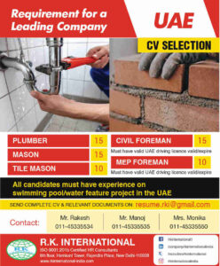 Requirement in UAE for a leading Co. – Plumber/Mason/Civil/MEP
