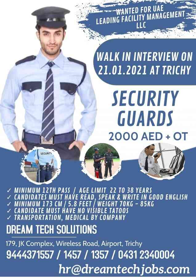 Security guard jobs in UAE for a leading facility management company