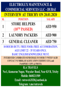 Urgent requirement for Electrolux LLC Dubai