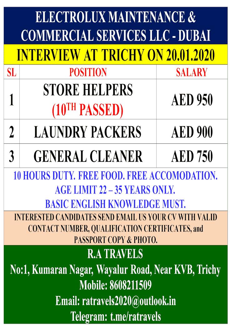 Urgent requirement for Electrolux LLC Dubai